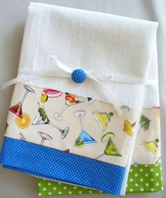 Kitchen towels with martini glasses cotton by SeamlessExpressions, $26.00