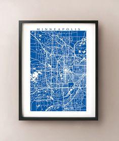 Minneapolis Area Map Print - Minnesota Poster - Twin Cities