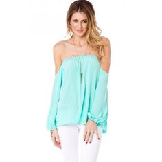 NWOT off the shoulder mint top! This top is simply gorgeous and super flattering! Unfortunately it's too big for me so it needs a new home! Never been worn and in absolute pristine condition🌷 Tops Blouses