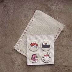 These beautiful badges. | 23 Delicious Little Things For Sushi Lovers