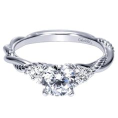 .88cttw Round Diamond Engagement Ring with Twisted Shank