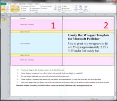 The colored boxes show where to place your artwork and text. The template is set up with margins and guidelines sized for printing 2 candy bar templates side-by-side.