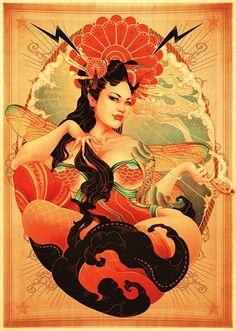 travaux de l'illustratrice japonaise ONEQ, entre Pin-Up,Japon et poster rétro