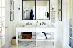 White bathroom vanity shelves