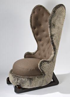 "Hubert le Gall - Armchair ""Rabbit Hug"" - 2012 - Fake fur, wool cloth and wood - 155 x 80 x 90 cm - Edition of 99 copies - Photo credits : Bruno Simon Funky Furniture, Sofa Furniture, Luxury Furniture, High Back Chairs, Mid Century Chair, Wing Chair, Velvet Cushions, Chair Design, Boho Decor"