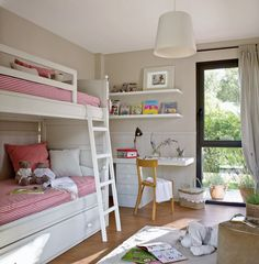 Why Choose a Bunk Bed for Your Youngster? – Bunk Beds for Kids Bedroom For Girls Kids, Little Girl Rooms, Loft Spaces, Kid Spaces, Small Room Bedroom, Bedroom Decor, Nursery Decor, Bunk Bed With Desk, Bunk Rooms