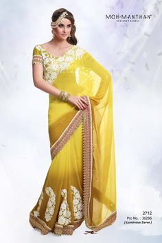 Yellow Chiffon Designer Saree