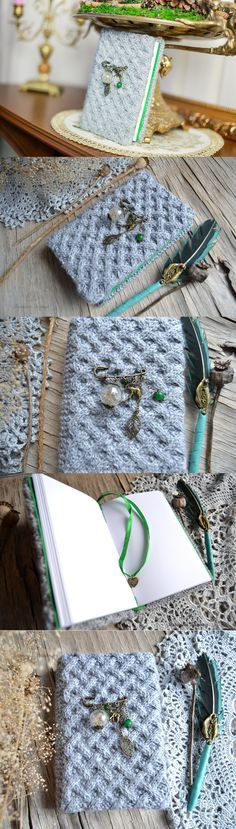 Gray book, knitted, a diary