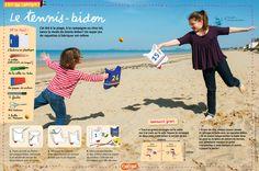 Le bricolage Astrapi du n°840 (15 juin 2015) : fabrique un jeu de plage pour jouer au tennis avec des bidons.