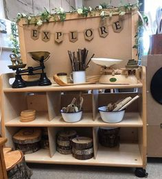 Looks like a different take on everyday kitchen supplies, can teach/show children the evolution of kitchen tools Reggio Emilia Classroom, Reggio Inspired Classrooms, Reggio Classroom, Outdoor Classroom, New Classroom, Classroom Setting, Classroom Setup, Classroom Design, Kindergarten Classroom