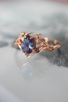 Vintage inspired engagement ring, alexandrite and diamonds - Cute Rings, Pretty Rings, Unique Rings, Simple Rings, 15 Rings, Vintage Inspired Engagement Rings, Dream Engagement Rings, Victorian Engagement Rings, Engagement Sets