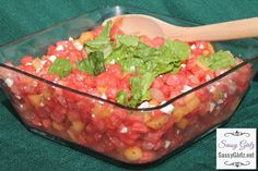 Watermelon, Feta And Mint Summer #Salad Recipe! Refreshing & Light