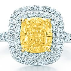 Tiffany & Co. Tiffany Soleste yellow and white diamond ring in platinum and 18k gold.  $12,600