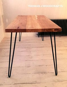 Irish Spalted Beech Dining Table with Hairpin Legs