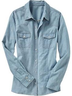 Chambray is a major hit, and Old Navy has this classic shirt in fantastic colors like dusty pink, purple, and blue.