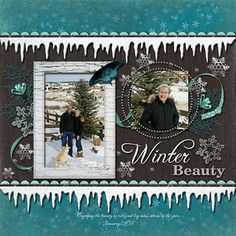 "Lovely ""Winter Beauty"" Scrapping Page...love the icicle trim, using a punch.  By Dolores Schaeffer - Ideas for Scrapbookers."