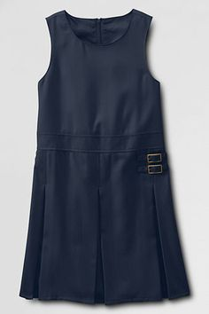 School Uniform Girls' Solid Pleated Side Buckle Jumper from Lands' End