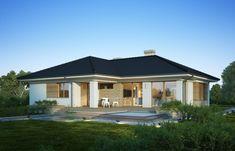 DOM.PL™ - Projekt domu FA Julia CE - DOM GC5-64 - gotowy koszt budowy 3 Bedroom Bungalow, Home Fashion, House Plans, Floor Plans, Exterior, Outdoor Structures, House Design, Flooring, Contemporary