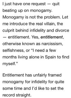 """Monogamy is NOT the problem; your shitty character is. xD claiming monogamy is """"unnatural"""" is a ridiculous rationalization cheaters use. How about you leave people with morals & empathy alone? THANKS! (btw, nothing wrong with poly people, just cheaters) p.s: you can be poly without beating up monogamous people like me! Stay in your lane."""