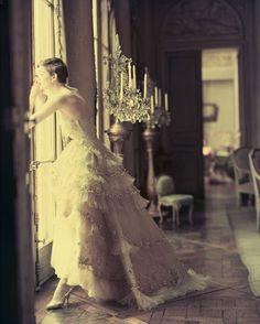 Christian Dior, Mozart dress, Spring 1950. Photo by Norman Parkinson