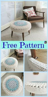 This crochet stool cover is such a simple yet efficient way to add some color and decoration to our home. It is quick and easy to crochet, the perfect for Pouf En Crochet, Stool Cover Crochet, Mandala Au Crochet, Beau Crochet, Crochet Diy, Crochet Cushions, Crochet Home Decor, Crochet Pillow, Crochet Crafts