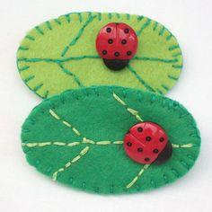 Felt Ladybird on Leaf  Brooch