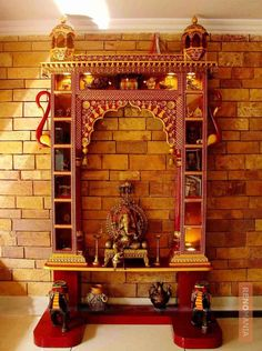 Since we are close to the festive season, why not give your temple a lovely makeover. These Mind Calming Wooden Home Temple Designs will help you in that. Pooja Room Door Design, Ceiling Design Living Room, Living Room Designs, Temple Room, Home Temple, Jain Temple, Temple Design For Home, Mandir Design, Indian Interiors