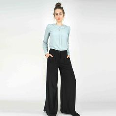 Weite Marlenehose mit Schlitz, retro Schlaghose, Business-Outfit / casual flared pants, Marlene Dietrich Style made by Cyroline via DaWanda.com