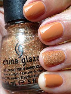 China Glaze Desert Sun with China Glaze I Herd That accent nail