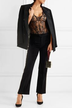 Black Leavers lace Hook fastening at back, concealed snap fastenings at base Imported
