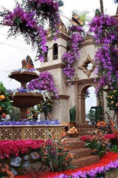 Purple is a fantastic color for St. Barbara style. Try Bougainvillea Brasiliensis, Bignonia distictus rivers.                                                                                                                                                      More