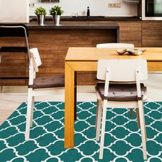 For this series of rugs, a striking Moroccan Tile pattern winds its way along the vibrant teal fabric, evoking the beauty of antique floor treatments. This line of washable rugs is available in three sizes: 3' x 5' Accent Rug, 2.5' x 7' Runner Rug, and 5' x 7' Area Rug.  These gorgeous area rugs employ a remarkable two-piece rug and flooring solution! Contains 1 rug cover and 1 rug pad.   #Rugs