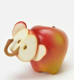 Apple Elephant made from Stone Resin / Enesco Whimsical Animal Figurines Sculpted Into Colorful Fruits, Vegetables and Herbs L'art Du Fruit, Deco Fruit, Fruit Art, Fruit And Veg, Fruit Cakes, Cute Food, Good Food, Funny Food, Kreative Snacks
