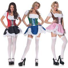 German Beer Girl Costume Fraulein Dirndl Fancy Dress Oktoberfest Serving Wench | eBay