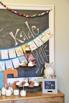 Alphabet baby shower dessert table.
