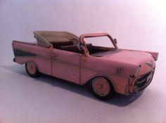 -> 57 Chevy Pink Convertible Tin Car Metal American Automobile Classic Car Vehicle Car Toy Home Decor Office Decor
