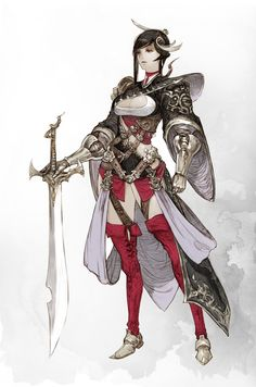 Art by Kyoung Hwan Kim Female Character Concept, Fantasy Character Design, Character Design Inspiration, Character Art, Female Armor, Female Knight, Fantasy Women, Fantasy Girl, Fantasy Characters