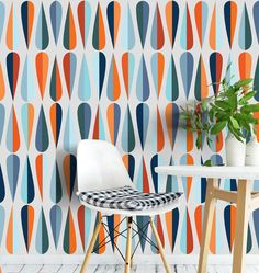 Mid Century Self-adhesive Removable Wallpaper, Mid Century Wallpaper, Peel and Stick Fabric Wallpaper, Wall Mural, Wallpaper - SKU: MCW