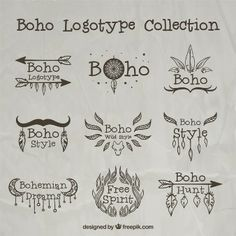 Hand drawn boho logos with ornaments