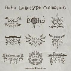 Hand drawn boho logos with ornaments
