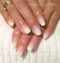 Ombré French nails using Evo gel by Biosculpture perfect bridal nails.