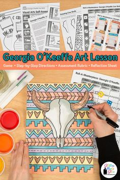 Georgia O'Keeffe Cow Skull Game - Looking for Georgia O'Keeffe art projects for kids? Fill up your art sub plans folder with low-pr - Art Games For Kids, Art Lessons For Kids, Art Lessons Elementary, Art Sub Plans, Art Lesson Plans, Middle School Art Projects, Art School, School Projects, High School