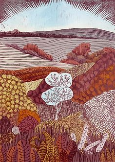 Liz Somerville Still Tree, Quiet Hollow Collage, Illustration Art, Illustrations, Local Artists, Woodblock Print, Landscape Art, Art Prints, Lino Prints, Printmaking