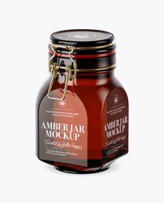 900ml Amber Glass Jar w/ Clamp Lid Mockup - Half Side View