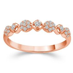 Zales 1/20 CT. T.w. Diamond Three Stone Alternating Infinity Stackable Band in 10K Rose Gold DgVGho