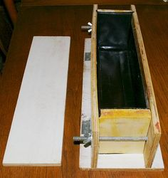 """From another pinner - """"I made this yesterday and I am repinning this for anyone interested in making an easy inexpensive soap mold.The sides drop down on hinges to make unmolding easier. Holds 3 lbs soap."""""""
