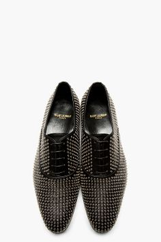 SAINT LAURENT Black Leather Eyelet Stud Oxfords