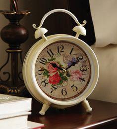 Vintage Look Rose Bell Alarm Clock $14.99