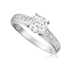 1.25 ct Forever One Moissanite & Princess Diamond Channel Set Ring
