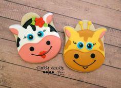 Animal cookies by Jill FCS Giraffe Cookies, Farm Cookies, Cookies For Kids, Cookies Et Biscuits, Cookie Frosting, Royal Icing Cookies, Cupcake Cookies, Sugar Cookies, Yummy Cookies